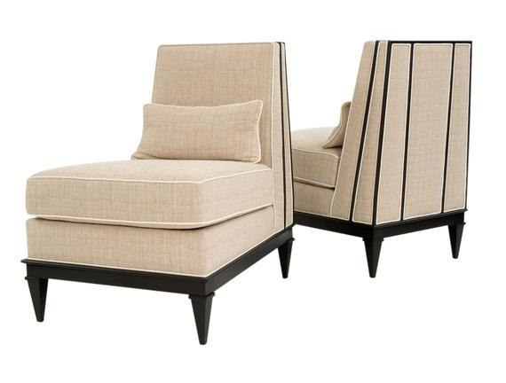 Orange Upholstered Slipper Chair Elegant Armless