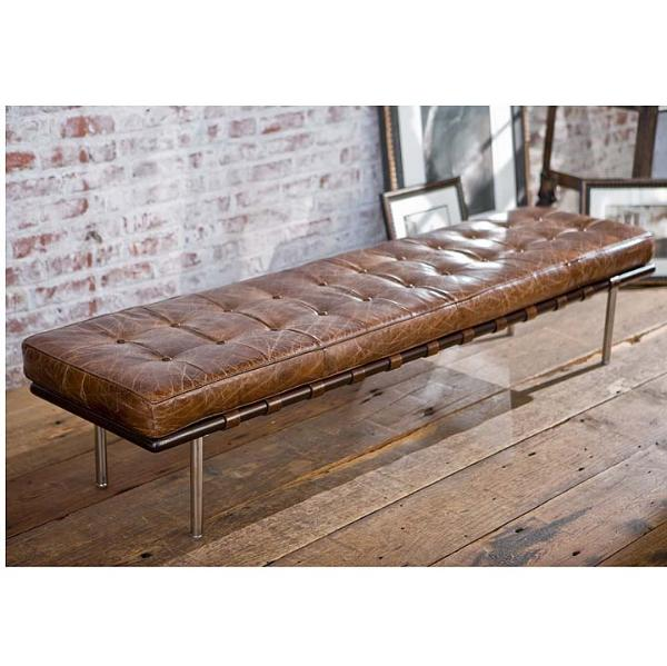 Tufted Gallery Bench in Brown Vintage Leather