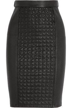 Roberto Cavalli Quilted Stretch Leather Skirt