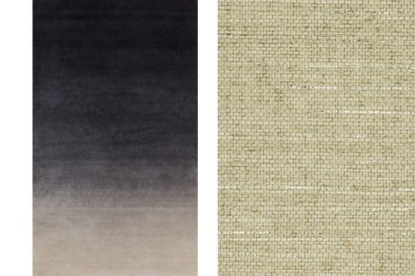 Carpet with gradated color and grasscloth wallcovering.
