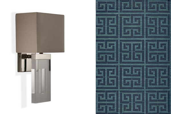 Light fixture and Greek Key pattern for ceiling.