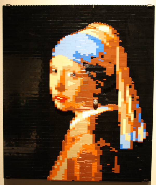 Vermeer's famous Girl with the Pearl Earring done as a Lego mosaic.