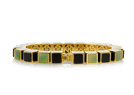 Jade Cube Bracelet with great detail on the interior, back side of the piece.