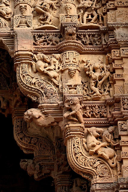Stone carvings of one of the four gates of Dabhoi (Gujarat), India.