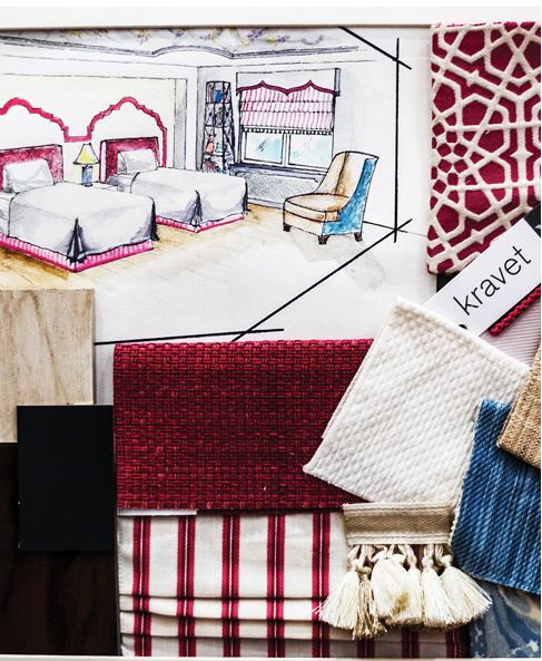 Sketch and fabric samples by Jennifer Mehditash