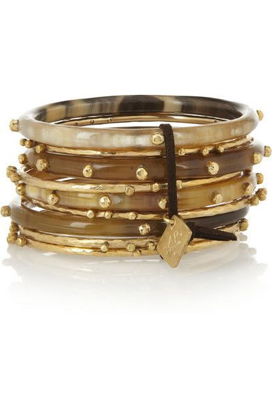 Shaba Bangles, horn and gold-toned bronze.