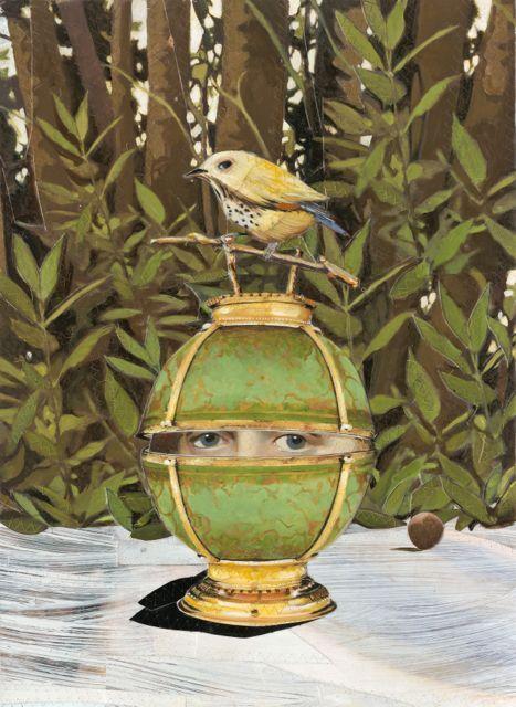 Green Vase Yellow Bird