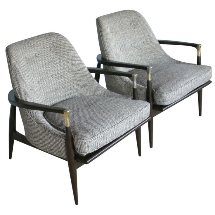Wood and Brass Lounge Chairs, circa 1950s.