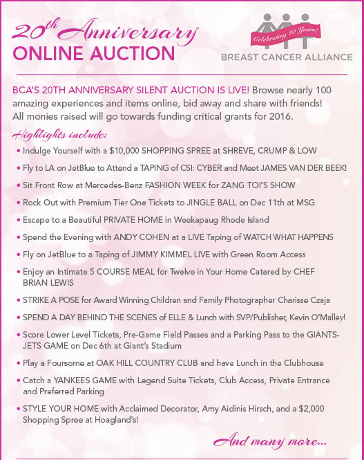 Breast Cancer Aliance 2015 Auction