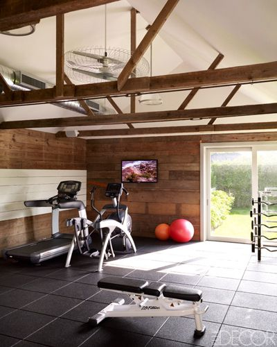 Nice mix of materials in this exercise space.  From Elle Decor.