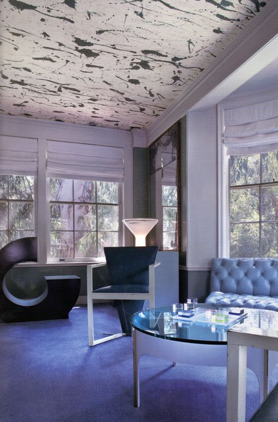 Splatter ceiling.  Design by Kelly Wearstler.