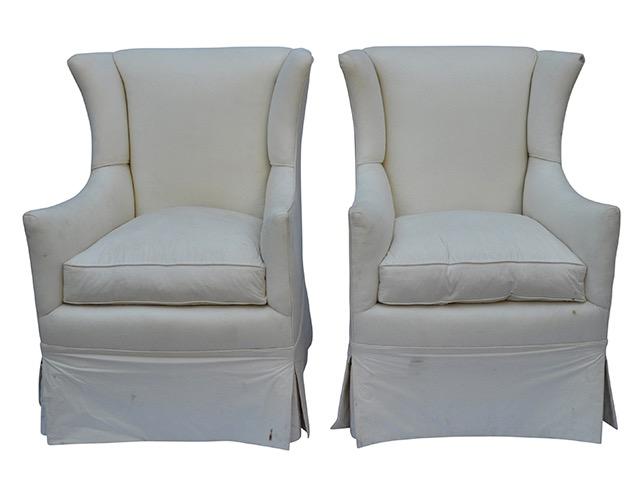 Pair of vintage petite arm chairs.
