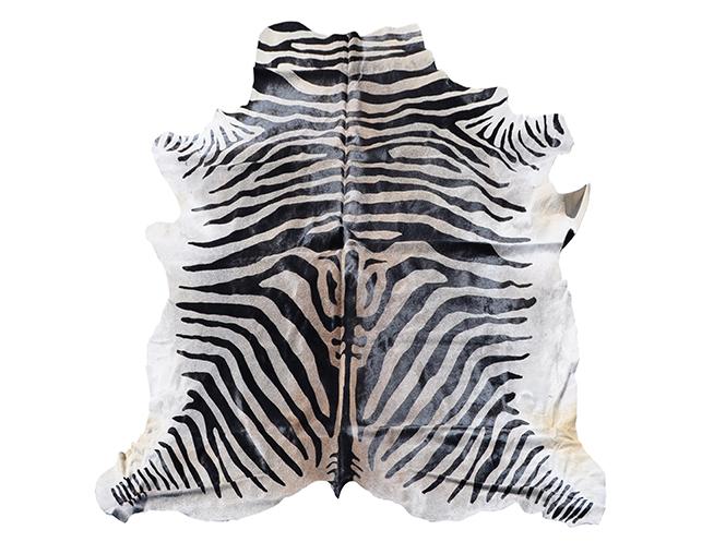 Zebra Print Stenciled Cowhide Rug